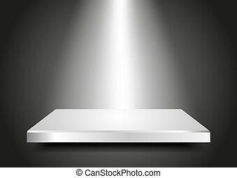 product., podio, sagoma, vuoto, 3d., presentazione, tuo