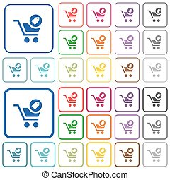 Product purchase features outlined flat color icons