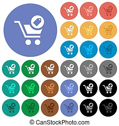 Product purchase features round flat multi colored icons