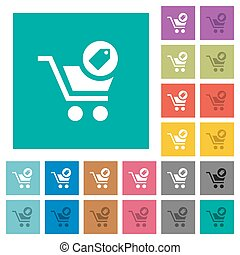 Product purchase features square flat multi colored icons