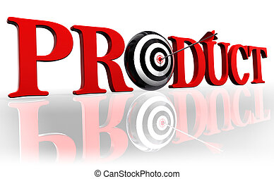 product red word and conceptual target with arrow on white background