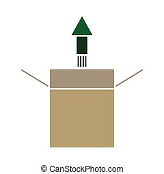 Product Release Icon. Flat Color Design. Vector Illustration...