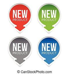 product, ronde, etiket, nieuw