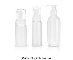 product, room, shampoo., schoonheidsmiddel, achtergrond, schuim, witte