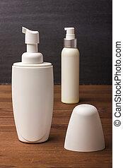 product, room, shampoo., vial, schoonheidsmiddel, schuim, lege