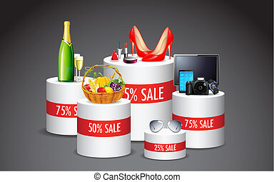 Product Sale - illustration of display of various product in...