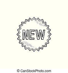 product, schets, doodle, sticker, hand, nieuw, getrokken, icon.