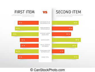 Product / service comparison table with description and ...