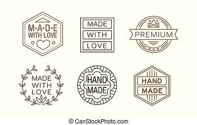 product, set, lineair, zakelijk, etiketten, met de hand gemaakt, origineel, verpakking, emblems, vector, crafts., of, kaart