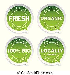 product, set, organisch, etiket