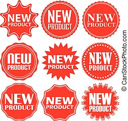 product, set, sticker, illustratie, vector, tekens & borden, nieuw