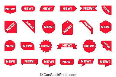 product., sfondo., adesivo, rosso, collection., vettore, etichette, manifesti, bianco, scontare, sagoma, o, vendita, icons., tags., nastri, set., arrivo, shopping, nuovo, illustrazione