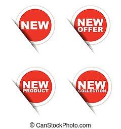 product, sticker, aanbod, sticker, verzameling, nieuw