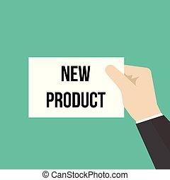 product, tekst, het tonen, papier, nieuwe man