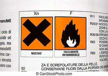 product toxic and flammable - label on the bottle of product...