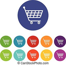 Product trolley icons set vector color