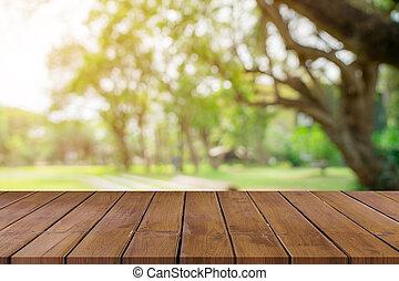 product, van hout top, space., montage, bokeh, groen tafel, display, lege