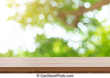 product, van hout top, space., montage, bokeh, groen tafel, display