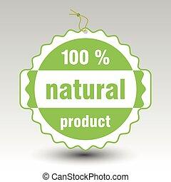 product, vector, %, prijs label, etiket, papier, groene, natuurlijke , honderd