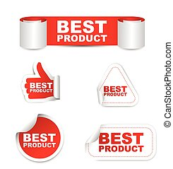 product, vector, set, papier, best, stickers, rood