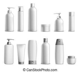 product, verpakken, beauty, mockup, schoonheidsmiddel, flessen