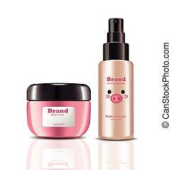 product, verpakken, etiketten, cosmetics., realistisch, verpulveren, vector, ontwerp, baby, room