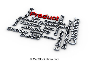 Product words cloud - 3d render of product words cloud