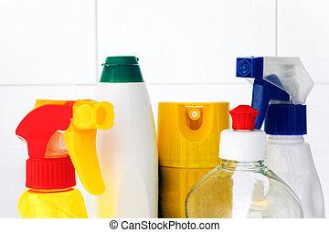 producten, bovenzijde, flessen, poetsen