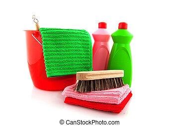producten, emmer, poetsen, rood