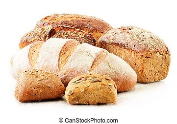 producten, witte , bakken, vrijstaand, samenstelling