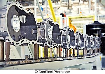 productiewerk, onderdelen, voor, motor