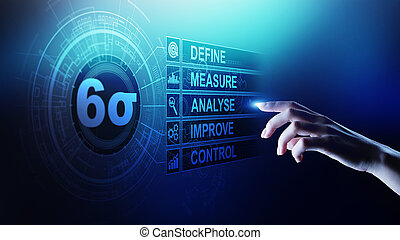 productiewerk, sigma, industrieel proces, concept., zes, mager, controle, verbeteren, kwaliteit