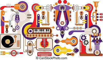 productiewerk, van, muziek instrumenten