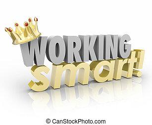 productif, fonctionnement, efficace, ouvrier, sommet, couronne, mieux, mots, employé, intelligent