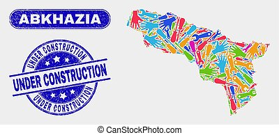 Production Abkhazia Map and Distress Under Construction Stamps