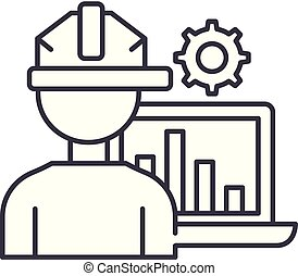Production automation line icon concept. Production automation vector linear illustration, symbol, sign