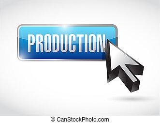Production blue button illustration design over a white ...