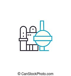 Production complex linear icon concept. Production complex line vector sign, symbol, illustration.