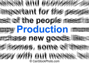 production concept - production written in newspaper showing...