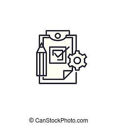 Production control linear icon concept. Production control line vector sign, symbol, illustration.