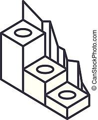 Production development line icon concept. Production development vector linear illustration, symbol, sign