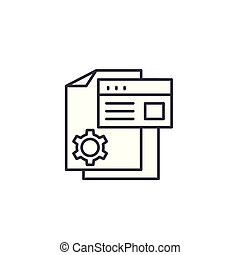 Production documentation linear icon concept. Production documentation line vector sign, symbol, illustration.