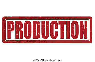 Production - Stamp with word production inside, vector...
