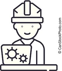 Production engineer line icon concept. Production engineer vector linear illustration, symbol, sign