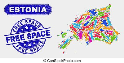 Production Estonia Map and Distress Free Space Stamps