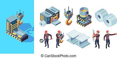 production, fer, illustration, fabrication, factory., fonderie, isométrique, lourd, vecteur, acier, métallurgie
