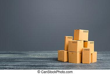 production, global, sales., transportation., business, distribution, produits, boîtes, carton, importation, échange, fret, vente au détail, commercer, marchandises, export., logistique, marchandises, expédition, pile., warehousing.