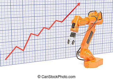 Production growth in automation industry concept. Robotic arm with growing chart. 3D rendering