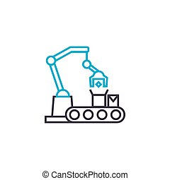 Production line linear icon concept. Production line line vector sign, symbol, illustration.
