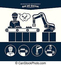 Production line. Man and machine. Monochrome illustration.